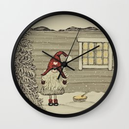 """""""Tomten Elmer"""" wondering if the rice pudding is for him... Wall Clock"""