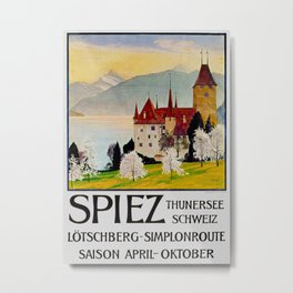 Spiez Switzerland - Vintage Travel Poster Metal Print