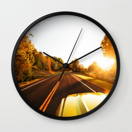 on the road in new england Wall Clock