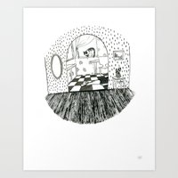 sylvia plath Art Prints featuring The Sylvia Plath Death Scene by The Virgin Dress