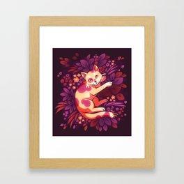 Purple Foliage Kitty Framed Art Print