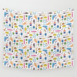 Cute & Crafty - Fun Pattern For Crafters w/ Colorful Craft Supplies Wall Tapestry