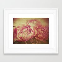 peonies Framed Art Prints featuring Peonies by V. Sanderson / Chickens in the Trees