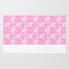 Soft Pink Hibiscus Turtle Hawaiian Pattern Rug