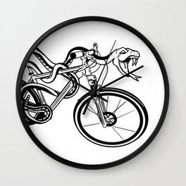 Snake Riding  A Mountain Bike Wall Clock