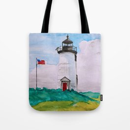 Cape Poge Lighthouse, Martha's Vineyard watercolor Tote Bag