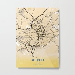 Murcia Yellow City Map Metal Print