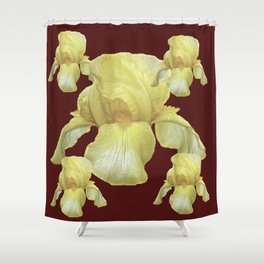 PALE YELLOW IRIS ON BURGUNDY COLOR Shower Curtain