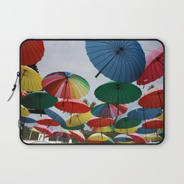 Street Decorated With Colored Umbrellas Laptop Sleeve