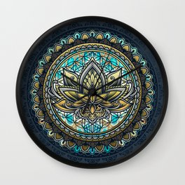 Lotus Mandala - Color Version Wall Clock