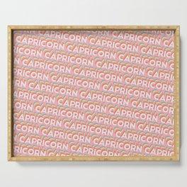 Capricorn Trendy Rainbow Text Pattern (Pink) Serving Tray