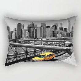 Yellow cab on Brooklyn Bridge, Manhattan, New York, USA. Rectangular Pillow