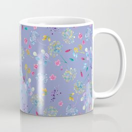 Bright Blossoms on Periwinkle Coffee Mug