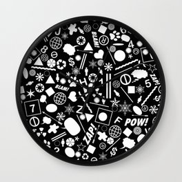 Bits And Pieces In Black And White Wall Clock