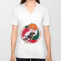 haikyuu V-neck T-shirts featuring Hinata Chibi by Kuroharra