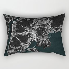 Busan City Map of South Korea - Dark Rectangular Pillow