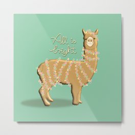 cute Christmas lights alpaca / llama with yellow fur and turquoise background Metal Print