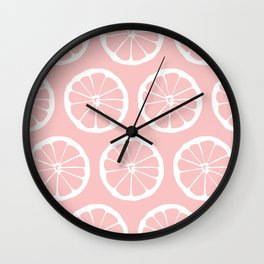 LemonSlices WhitePinkGrapefruit vintage illustration pattern Wall Clock