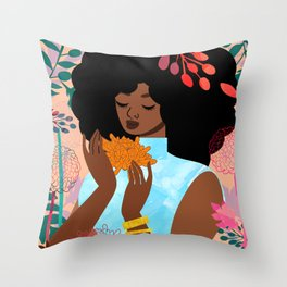 Chrysanthemums in November Throw Pillow
