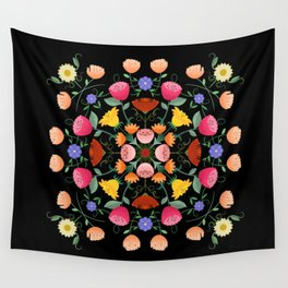 Folk Art Inspired Garden Of Fantastic Floral Delight Wall Tapestry