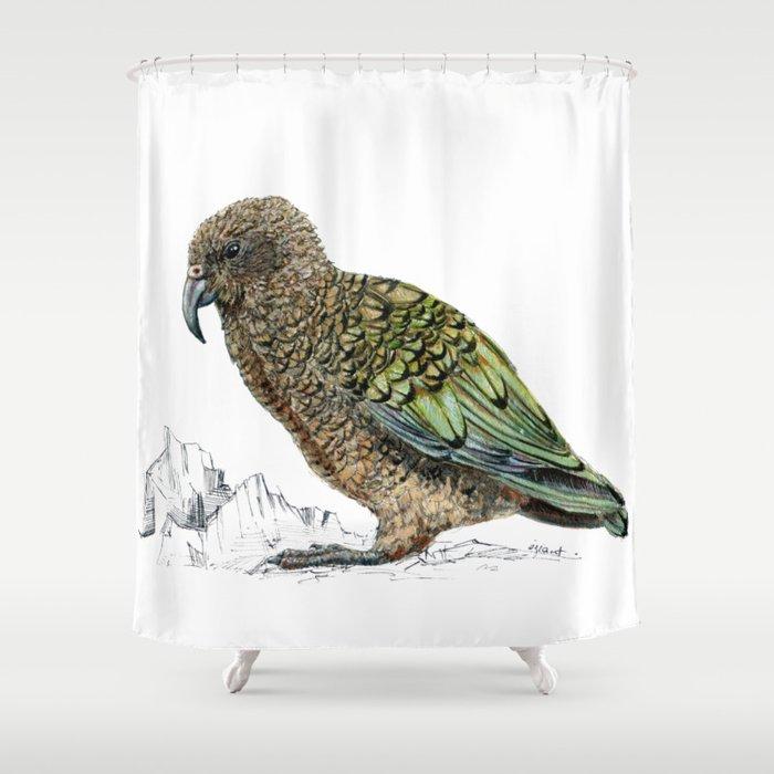Mr Kea, New Zealand parrot Shower Curtain