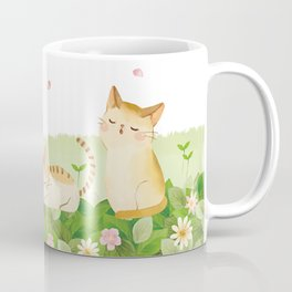 Funny Cats Singing under Cherry Blossoms Coffee Mug