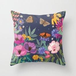 Anemones & Cornflowers Throw Pillow