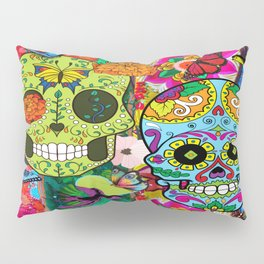 Day Of The Dead Floral Skulls Pillow Sham