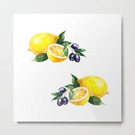 Lemons and Olives Mediterranean Foods Metal Print