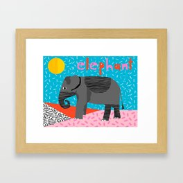 Wacka Kidz Elephant - animal art print, safari, elephant, animals, kids art prints, 80s art print Framed Art Print