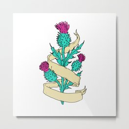 Scottish Thistle With Ribbon Color Drawing Metal Print