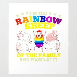 LGBT pride rainbow sheep family gift Art Print