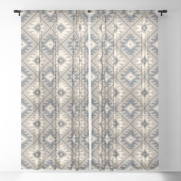 Aztec Symbol Stylized Pattern Blue Cream Sand Sheer Curtain
