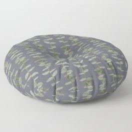 Eucalyptus Patterns Dusty Purple Background Realistic Botanic Patterns Organic & Striped Pattern Floor Pillow
