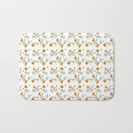Yellow Poppy Pattern Bath Mat