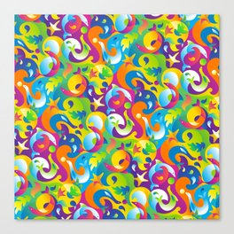 Dolphins, Seals and Sea Life in Tropical Ocean Waves Canvas Print