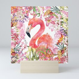 Flamingo in Tropical Flower Jungle Mini Art Print