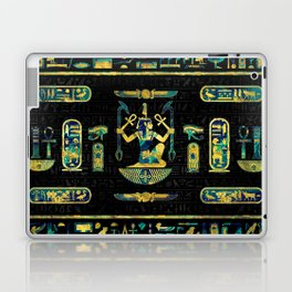 Egyptian  Gold and Blue Marble Ornament Laptop & iPad Skin