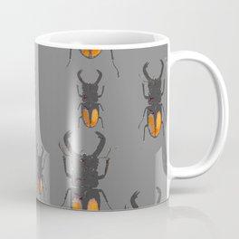 NATURE LOVERS STAG HORNED BEETLES BUG GREY ART M Coffee Mug
