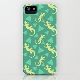 Wild lizards, geometric triangle shapes whimsical ethnic tribal retro vintage green yello lizard abstract pattern. Gifts for geometry and animal lovers. Herpetology. iPhone Case