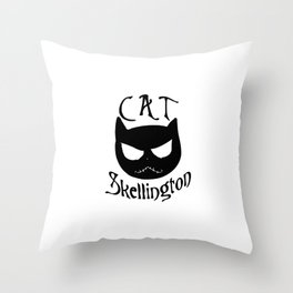 Cat Skellington Throw Pillow