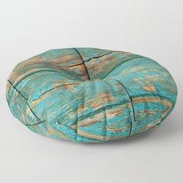 Rustic Teal Boards (Color) Floor Pillow