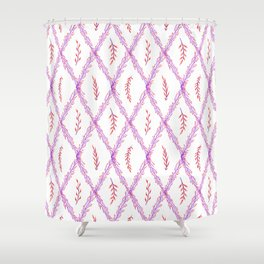 Modern violet pink watercolor geometrical floral Shower Curtain