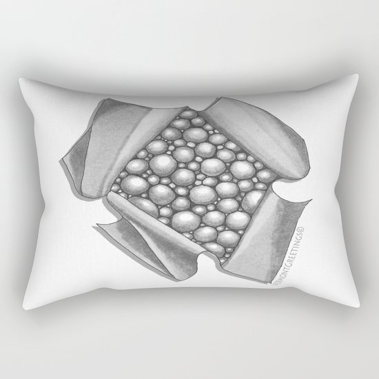 Zentangle 3D Box of Balls Black and White Illustration Rectangular Pillow