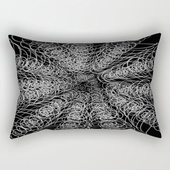 White Swirl Fractal on Black Rectangular Pillow