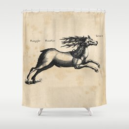 Vintage Deer Illustration Shower Curtain