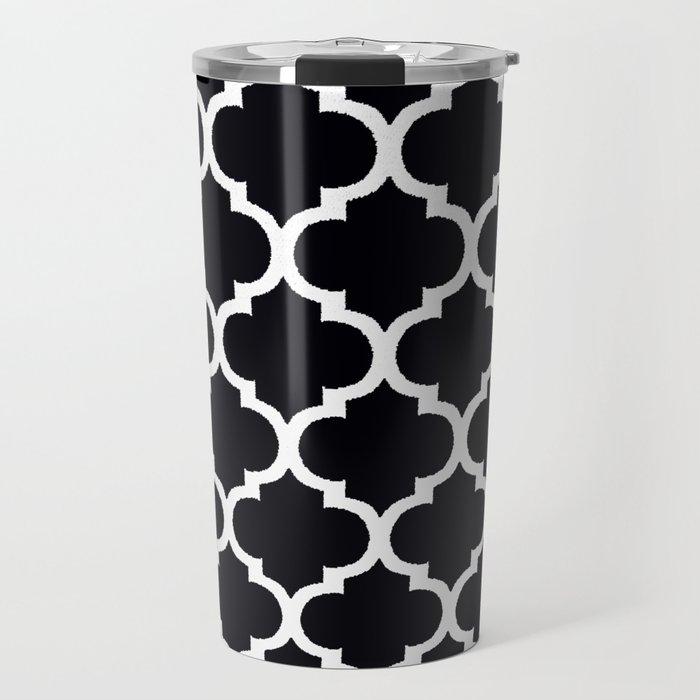 Moroccan Black and White Lattice Moroccan Pattern Travel Mug