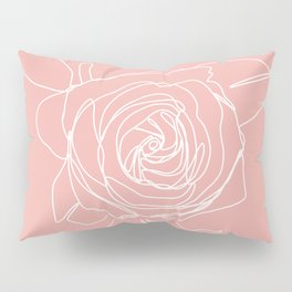 Rose Flower With Leaves One Line Art Pillow Sham