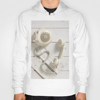 telephone Hoodies featuring Old Telephone by visualspectrum