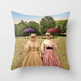Two Pretty Kitties: Out for a Stroll Throw Pillow